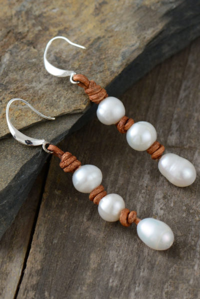 Boho pearls náušnice