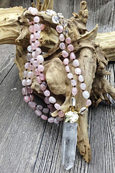 Náhrdelník z ružového kryštálu Rose nugget