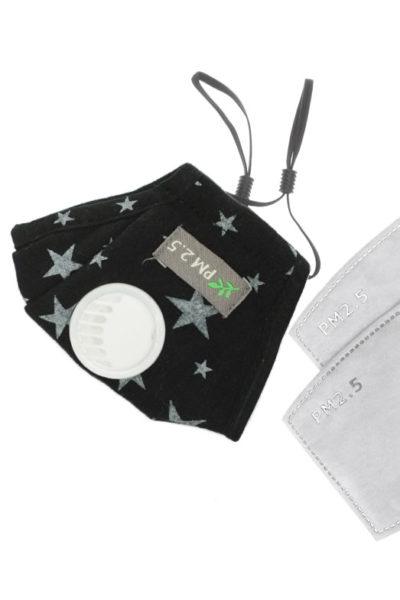 Bavlnené detské rúško s ventilom, vrátane výmenného uhlíkového filtra 2,5