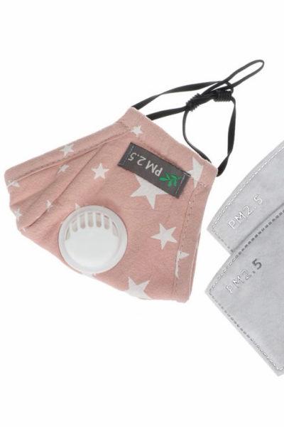 Bavlnené detské rúško s ventilom, vrátane výmenného uhlíkového filtra 2,5 (pink)